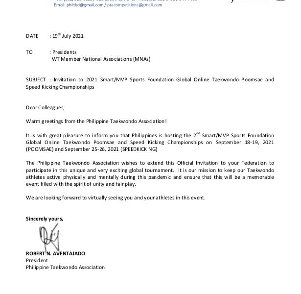 Invitation to 2021 Smart/MVP Sports Foundation Global Online Taekwondo Poomsae and Speed Kicking Championships